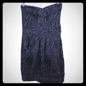 Billabong Dresses - Billabong Tube Dress dark gray / Black leopard